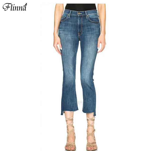 2017 Nova Primavera Mulheres Calças Jeans Briga Para Mulheres Cortar Casual Irregular Cintura Alta Comprimento do Tornozelo Calças de Jeans