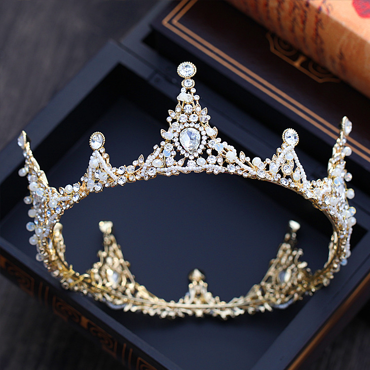 Large Crystal crown and tiaras Round Prom Queen Crown Wedding Pageant Big Wedding Bride Hair Accessories hair jewelry 00009 red gold bride wedding hair tiaras ancient chinese empress hair piece