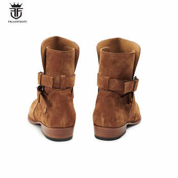Handmade waytt luxury buckle strap suede Boots wedge pointed toe handmade shoes real leather slip skinny denim boots