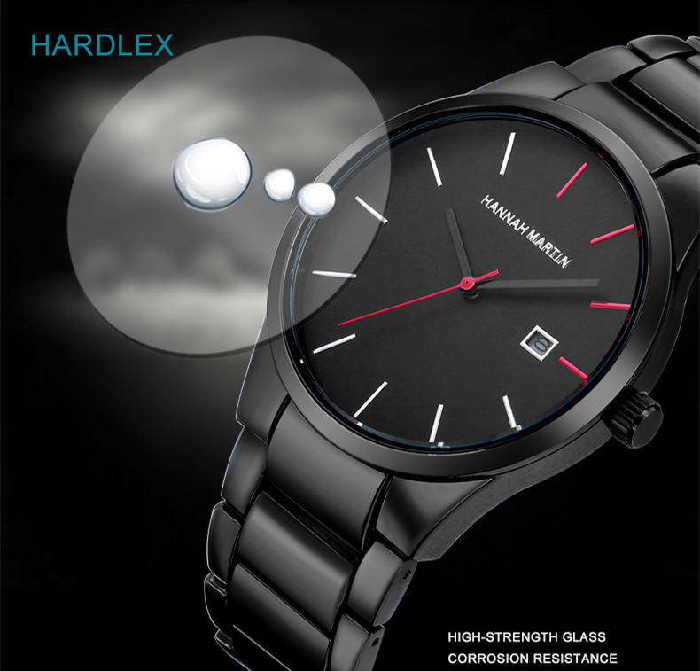 Relogio Masculino HANNAH MARTIN Mens Watches Top Brand Luxury Business Quartz Watch Men Stainless Steel Watch erkek kol saati