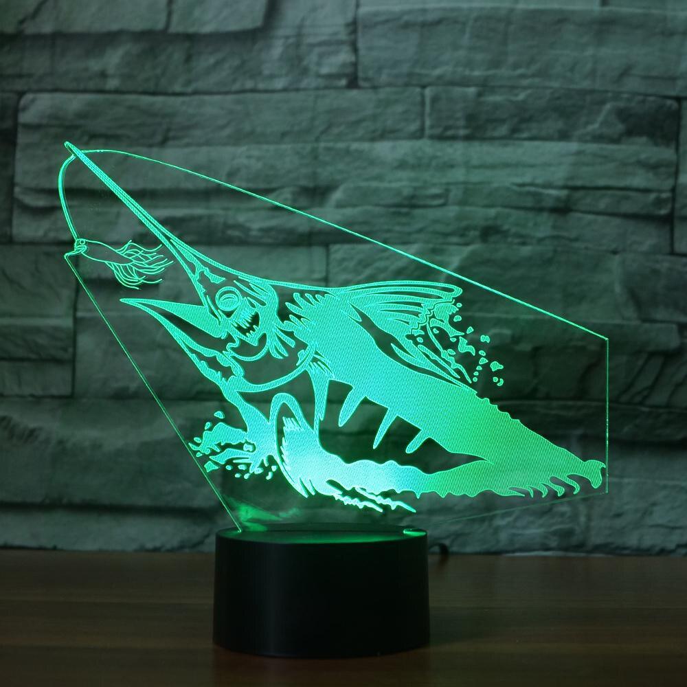 Creative Fishing 3D Night Light Fish Model 3D Illusion Lamp LED 7 ...