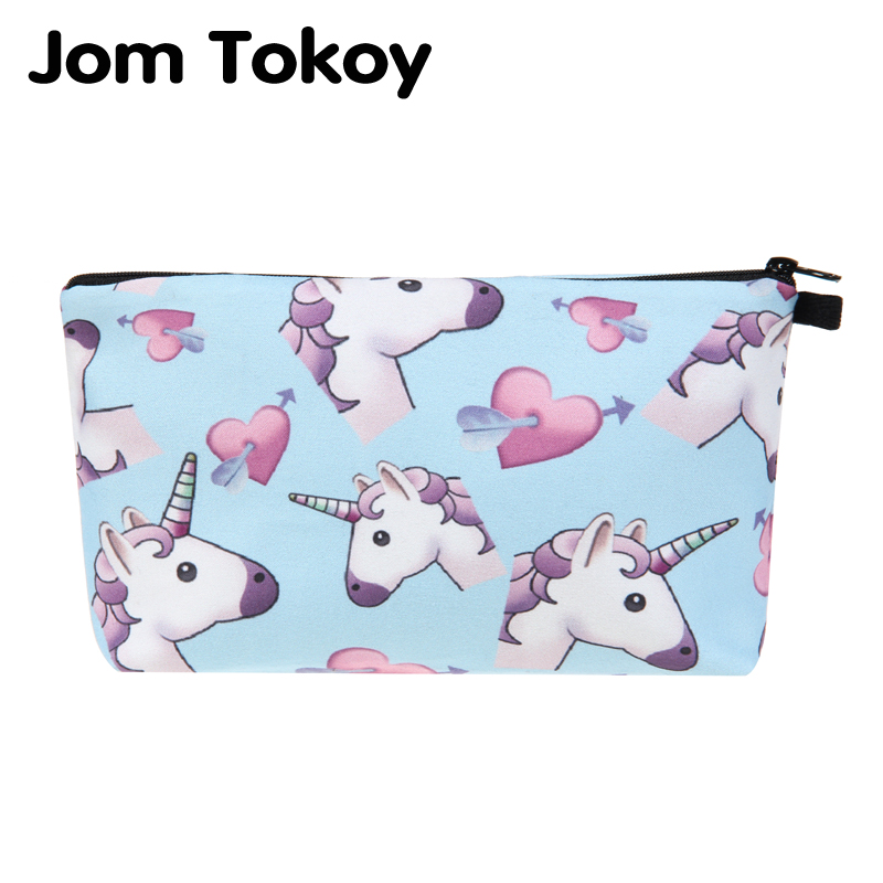 Jom Tokoy 2018 cosmetic organizer bag unicorn 3D Printing Cosmetic Bag Fashion Women Brand makeup bag jom tokoy unicorn 3d printing cosmetic bag women makeup bag 2017 fashion cosmetic cares trousse de maquillage neceser