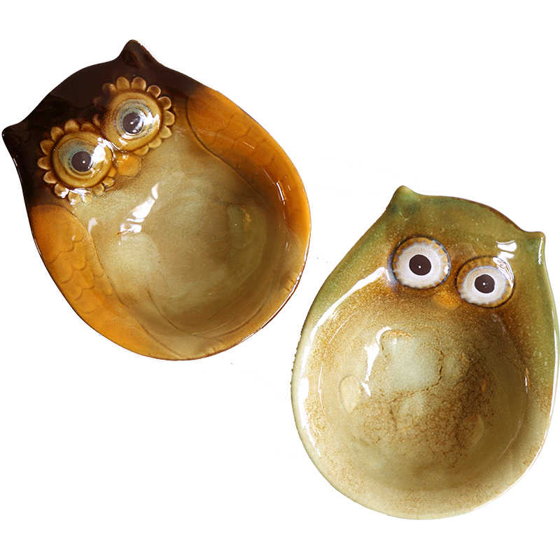 Coruja Ceramica Owl Figurines Home Decor Nut Dish Crafts Room
