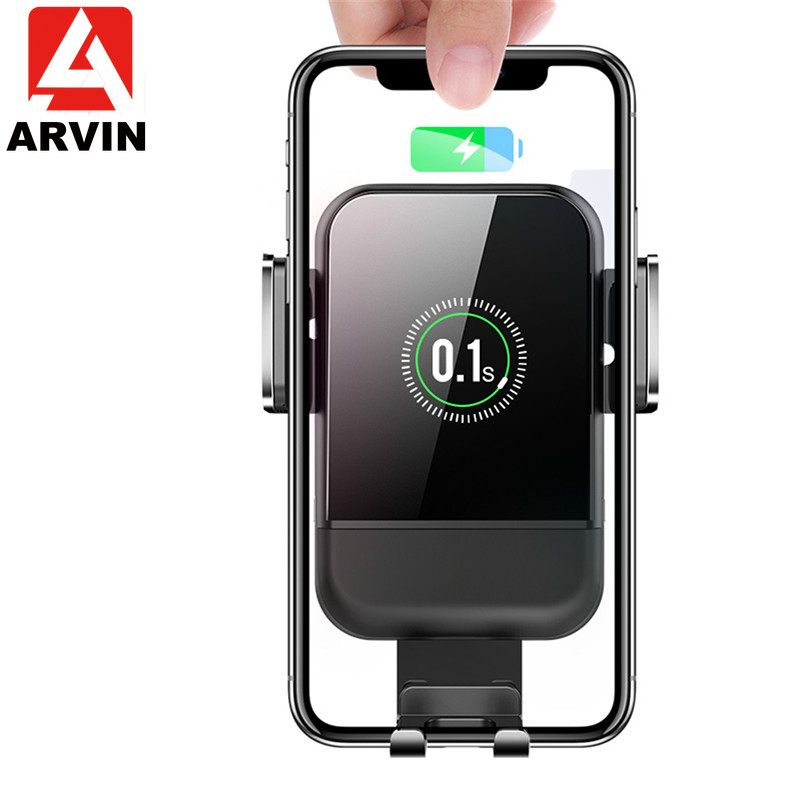 Arvin Wireless Charger Car Holder For iPhone 8P X XR Samsung Note 9 S9 Intelligent Infrared Sensor Smart Car Quick Charger Mount