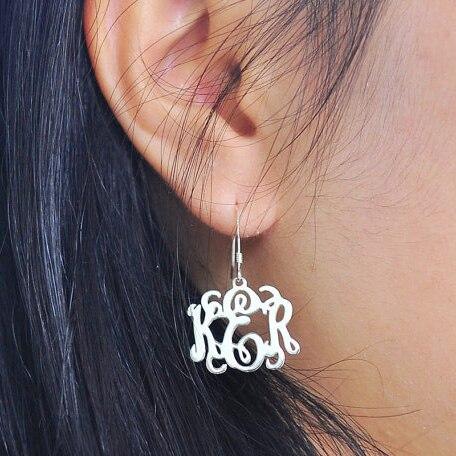 925 Argent Monogramme Boucle D'oreille, personnalisé 3 Initiales Balancent Boucles D'oreilles, personnalisé Lettre Bijoux