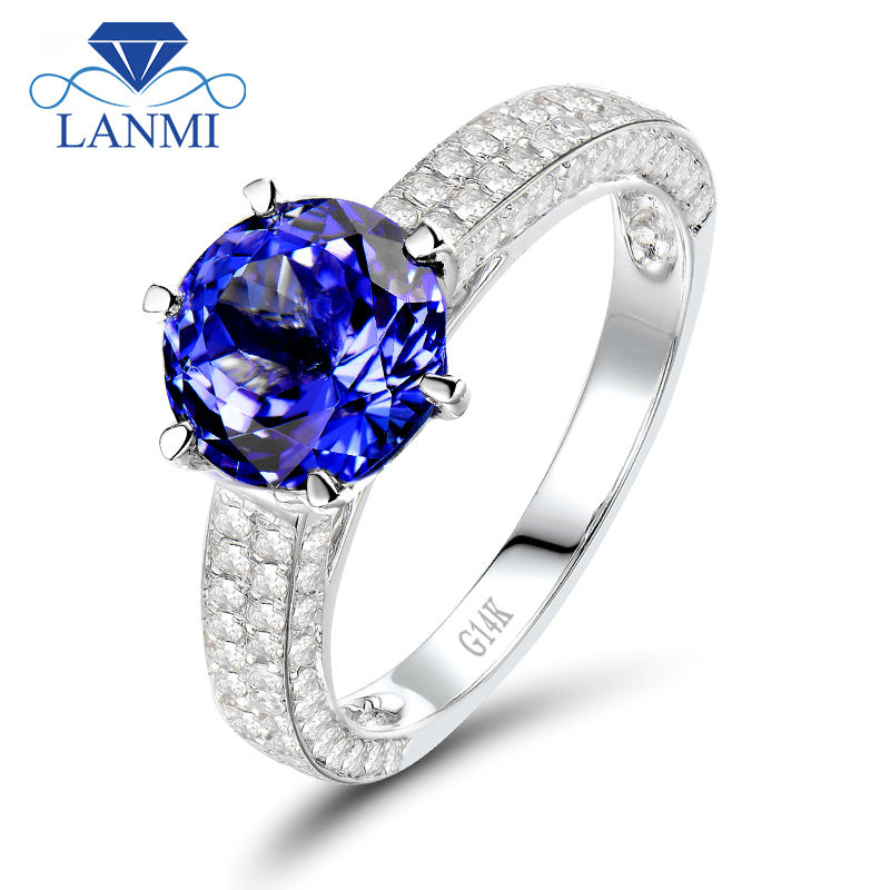 Solid 14K White Gold Natural Tanzanite Ring Real Diamond SI Clarity Round Cut Gemstone Jewelry for Women SR00121A