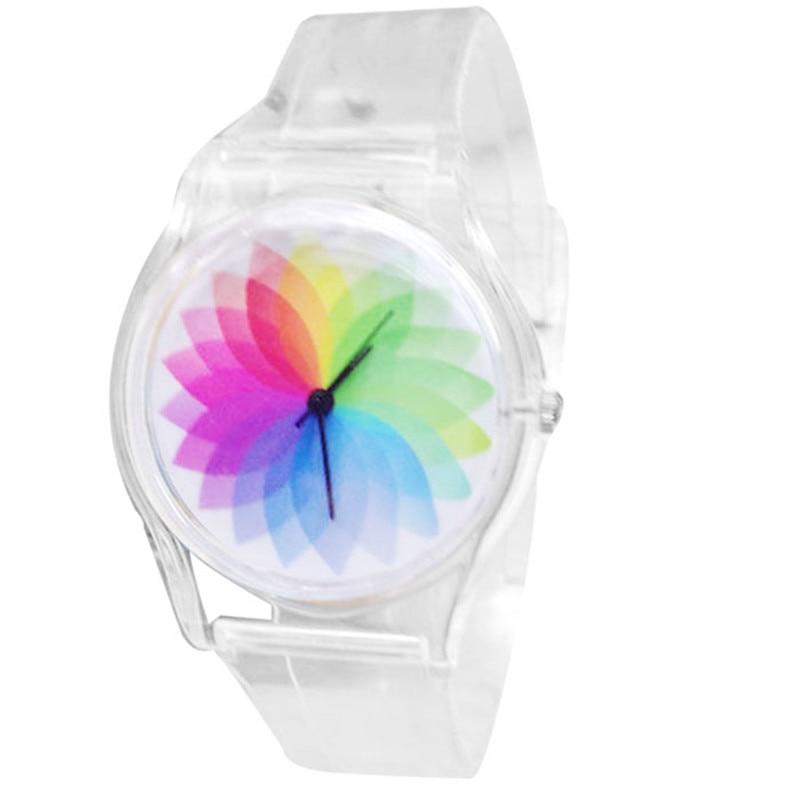 Creative Kinderen pulsera Horloges Mode Blauw Wit Streep Wijzerplaat Transparant Siliconen Band Mooi Leuk Quartz Horloge # 270717