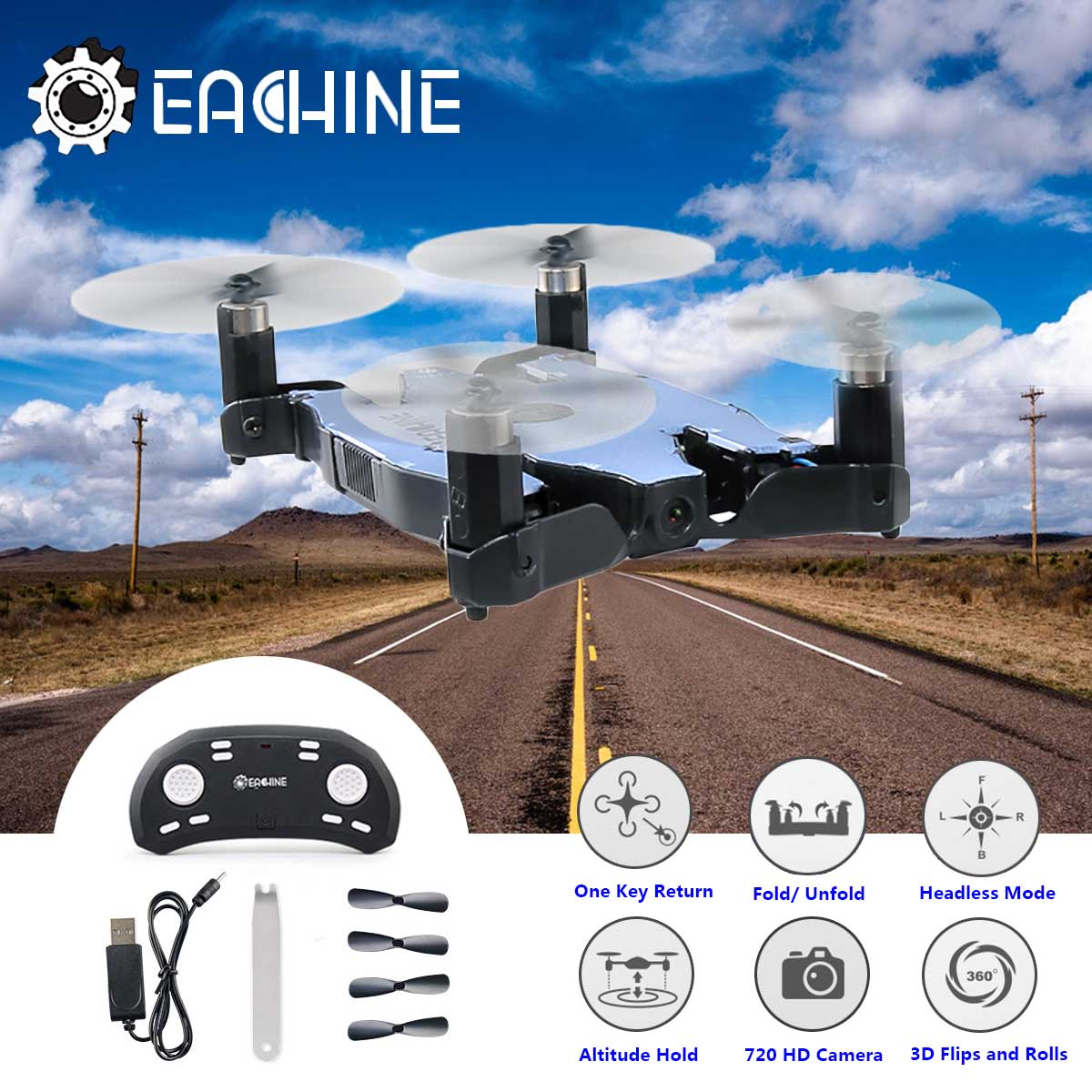 Hot Sale Eachine E57 WiFi FPV With 720P HD Camera Auto Foldable Arm Altitude Hold RC Quadcopter Selfie Drone VS JJRC H49 jjrc h49 sol ultrathin wifi fpv drone beauty mode 2mp camera auto foldable arm altitude hold rc quadcopter vs e50 e56 e57