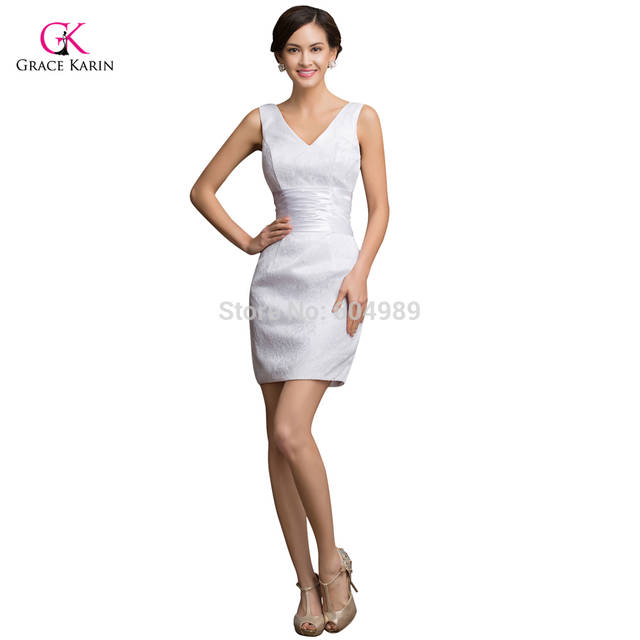3e32581381a Sexy Grace Karin Taffeta White Lace Short Cocktail Dress plus size 2018 Cheap  Prom Mini Party