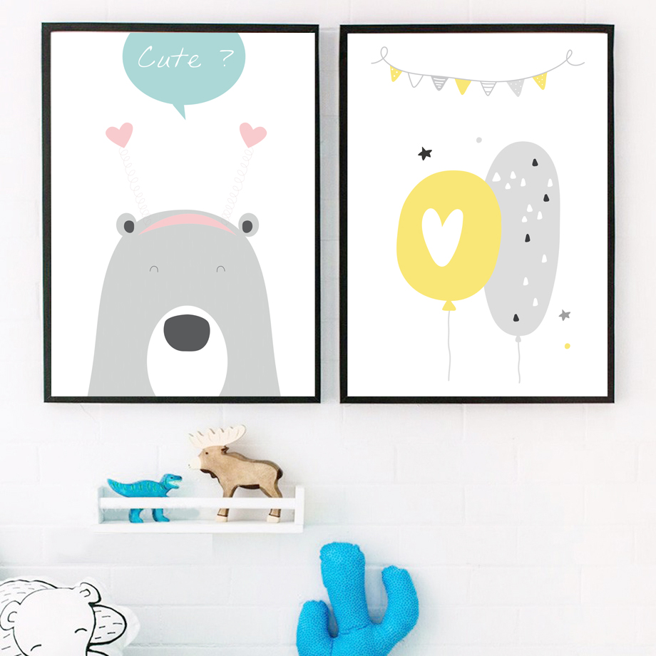 Bear Balloon Elephant Baby Quotes Wall Art Canvas Painting Nordic Posters And Prints Animal Wall Picture Kids Room Bedroom Decor in Painting Calligraphy from Home Garden
