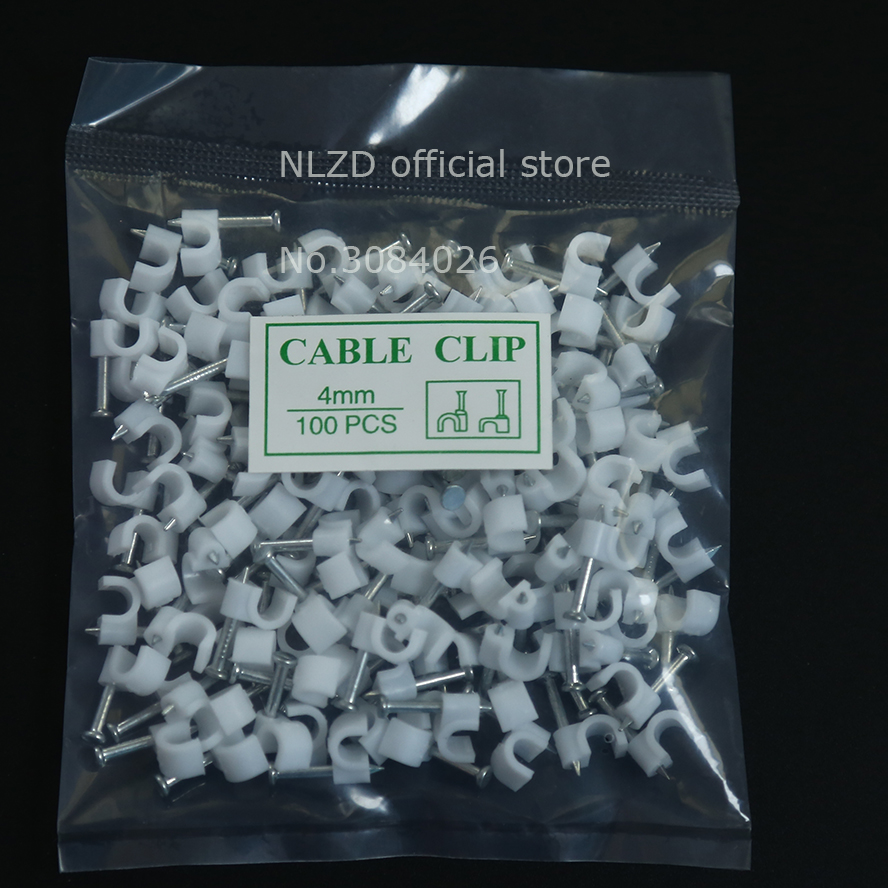 Packs of 10-1000 Round White Cable Clips With Fixing Nails 4mm-12mm