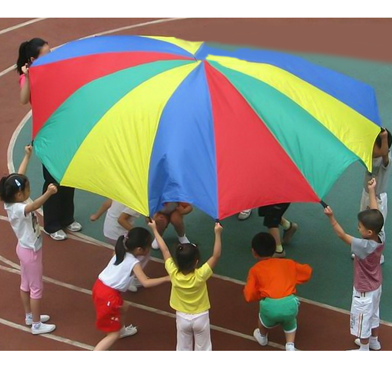 Outdoor Rainbow Umbrella Parachute Toy Jump-Sack Ballute Play For Kids Sports Development Toy 2M/3M/3.6M/4M/5M/6M Diameter 1 8 3 5m outdoor toy rainbow umbrella parachute sensory toys for children kid playing outside traning cooperate outdoor games