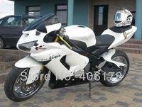 Hot vente, Zx-6r 05 - 06 carénage kit pour kawasaki Ninja ZX6R 2005 - 2006 blanc et noir course vélo carénages ( moulage par Injection )