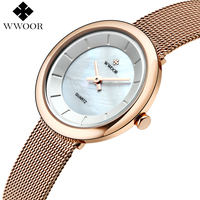 WWOOR Elegant Brand Rose Gold Women Watches 2017 Montre Femme Fashion Ladies Bracelet Ultrathin Crust Quartz