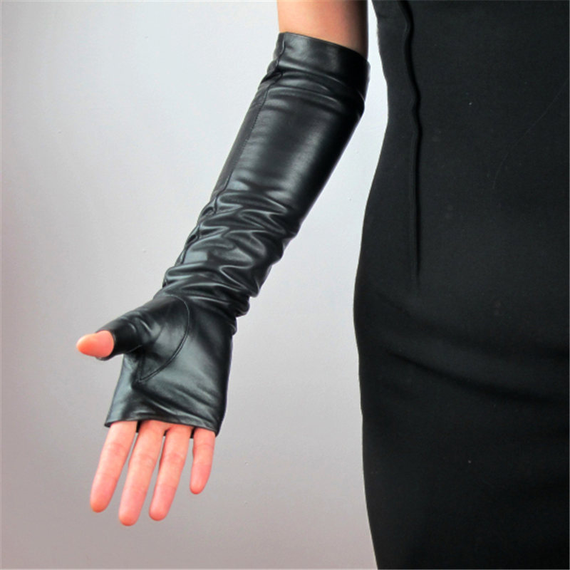 Genuine Leather Long Style Woman Gloves Semi Finger Fingerless 40cm Pure Sheepskin Black With Lined Female Mittens TB100 in Women 39 s Gloves from Apparel Accessories