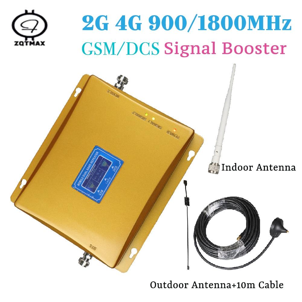 900/1800 MHz téléphone portable 70dB GSM Signal répéteur cellulaire Booster 4G dcs 1800 avec 10m câble affichage kit de bricolage pour la maison