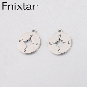 Image 1 - Fnixtar Compass Charm Stainless Steel Mirror Polishe DIY Necklace Bracelet Jewelry Finding  15*17.4mm 20piece/lot