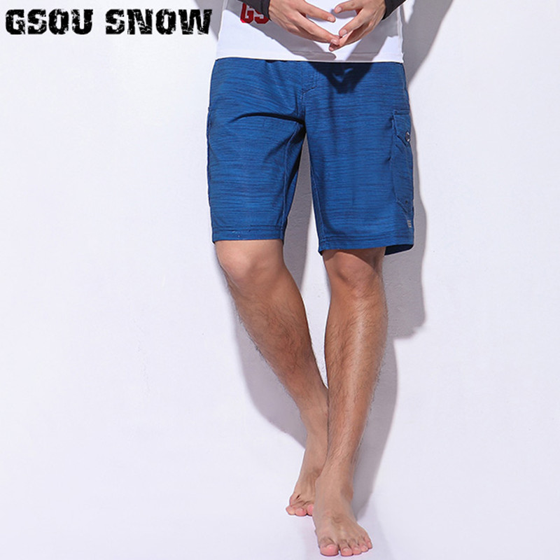 GSOU SNOW Brand Male Beach Board Shorts Men Quick Dry Swimwear Soild Summer Bermudas Swimming Surfing Diving Motorboat Shorts