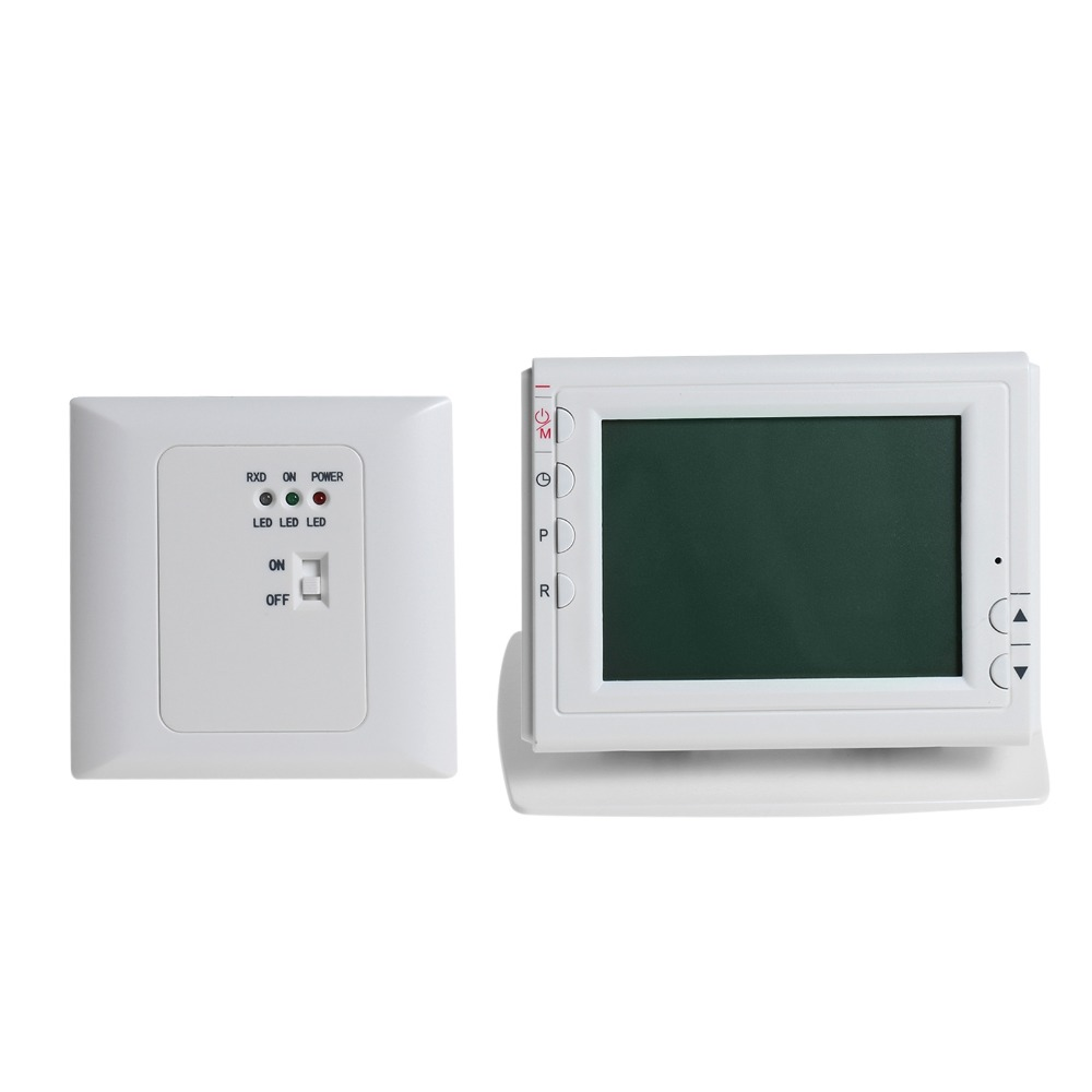 Wireless Thermoregulator Temperature Controller Green LCD Screen Display Programmable for Gas Oil Heating Thermostat w Receiver valve radiator linkage controller weekly programmable room thermostat wifi app for gas boiler underfloor heating