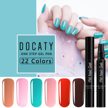 Docaty 2019 Gel polaco un paso 3 en 1 Gel esmalte pluma Uv Led Semi permanente uñas arte 22 color resina uñas No necesita capa superior(China)