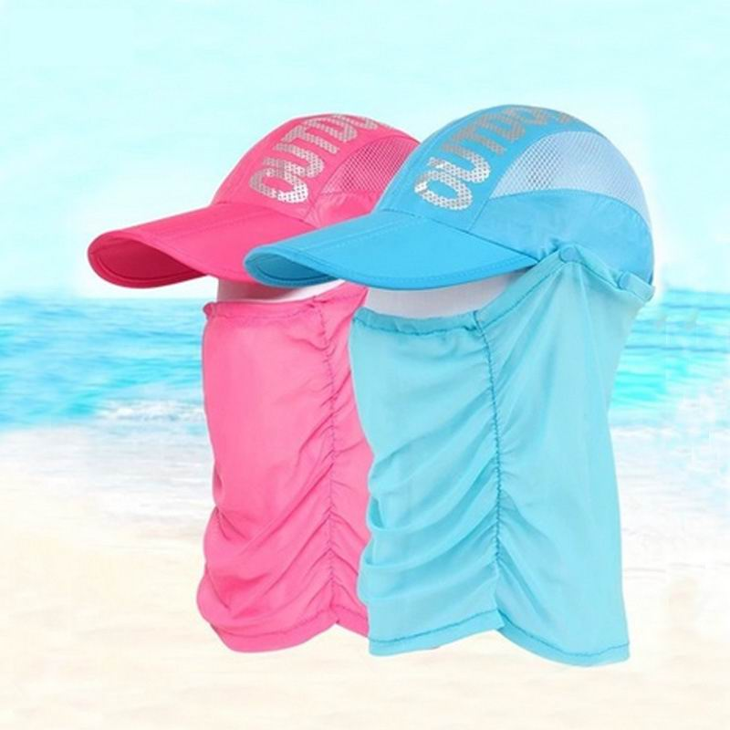eca48850ab4 2017 unisex full protection hat two wear baseball cap neck face female  sunhat summer sun screen caps cool breathable-in Baseball Caps from Apparel  ...