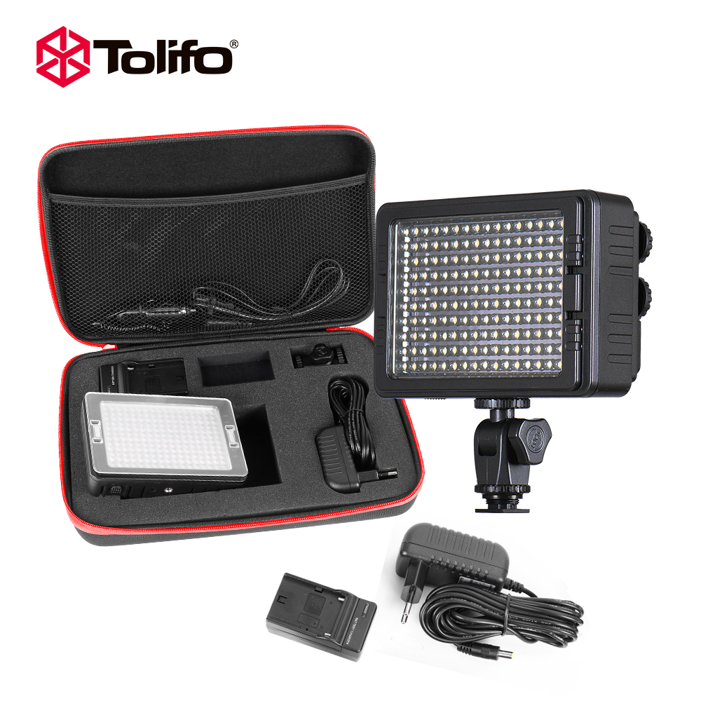 Tolifo PT160b Kit 160 led Video Camera Light kit Bi-color Adjustable with Battery charger and Other Aceeessories for DSLR Camera led 5012 10pcs 15w led video light bi color continuous light f750 battery kit for canon nikon pentax dslr camera camcorder dv