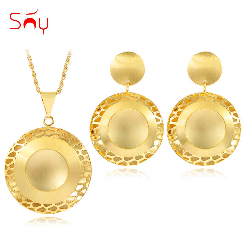 Sunny Jewelry Romantic Jewelry Sets For Women Necklace Earrings Pendant Jewelry Sets For Party Wedding Gift Round Flower Jewelry