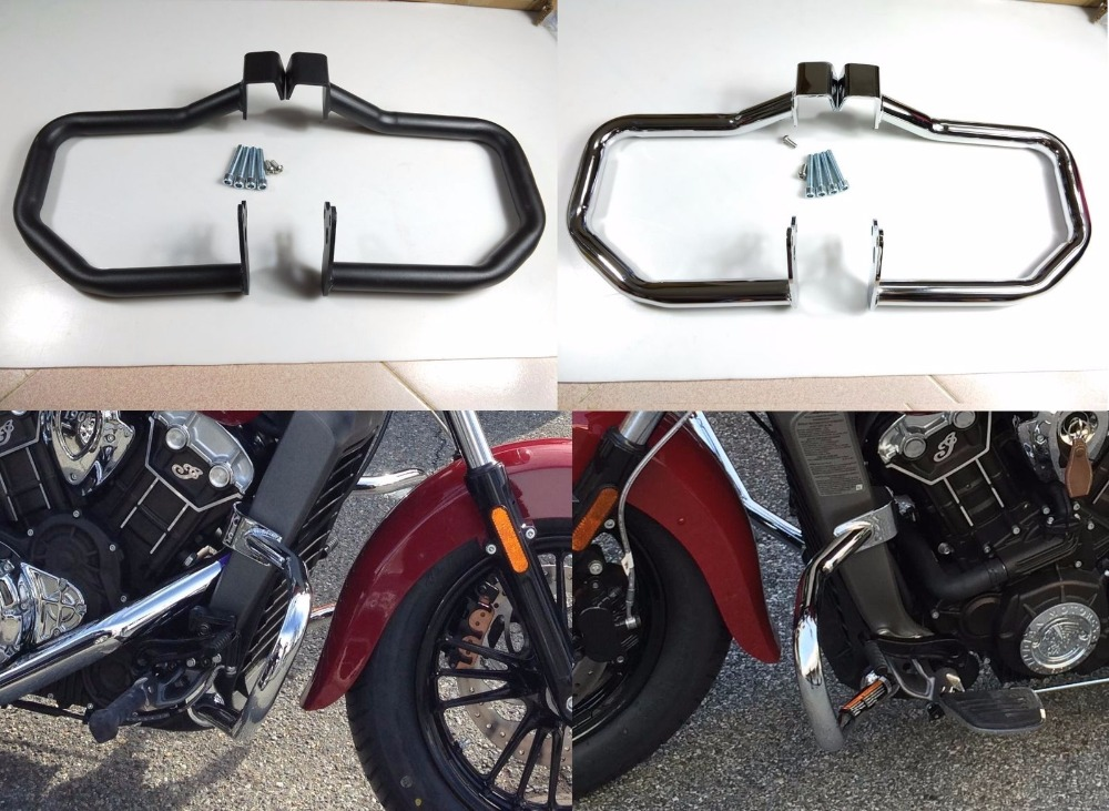 Motorcycle Highway Black Chrome Crash Bar Engine Guard Protector W Mounting Screws For Indian Scout Sixty