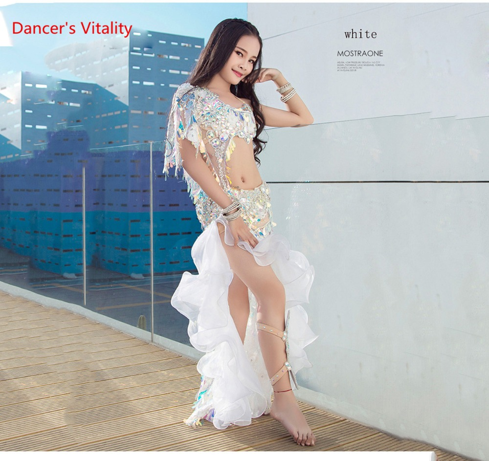Girls Belly Dance Stage Show Performance Costume Dress Set (Bra Long Skirt) New Piece Of High-Grade Real Silk Dress