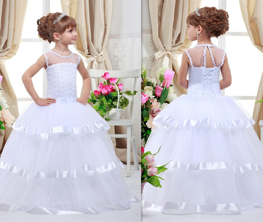 Custom Made 2018 Flower Girl Dresses for Wedding Princess Lace Up Sequined Appliqued Bow Child First Communion GownCustom Made 2018 Flower Girl Dresses for Wedding Princess Lace Up Sequined Appliqued Bow Child First Communion Gown