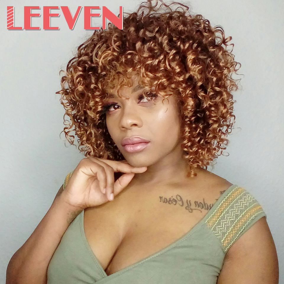 Leeven Hair Afro Kinky Curly Wigs For Black Women Brown Mixed Blonde  Synthetic Wigs High Temperature Fiber African Hairstyle