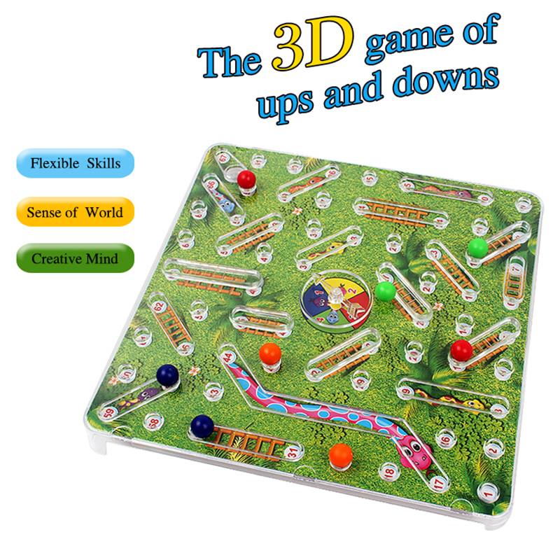 WOWCHEER Snakes Ladders Game Family Funny 3D Folding Snake Chess Board Game Puzzle Toys For Children Christmas Gift