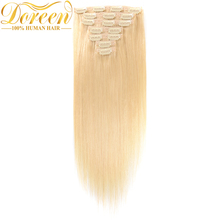 Doreen #613 Blonde Clip In Human Hair Extensions 70 Grams 7P Brazilian Remy Human Hair Clip Ins Straight 12″-22″ Could be Curly