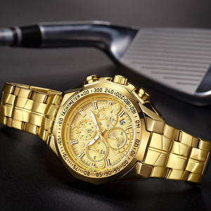 Image 4 - Relogio Masculino 2019 Men Watches Top Brand Luxury WWOOR Chronograph Big Dial Gold Male Wristwatch Sport Golden Men Watch 2019