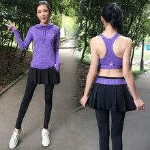 Breathable Yoga set Women's tracksuits 3 in 1 Sportswear for women Fitness Hoodies Sports bra Elastic Waist Leggings Sport suit