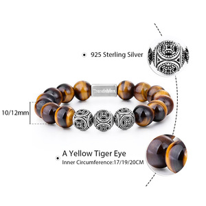 Image 4 - Trendsmax 10MM A Tiger Eye Beaded Bracelets Women Men Natural Stone Stretch 925 Sterling Silver High Quality Jewelry TBB005
