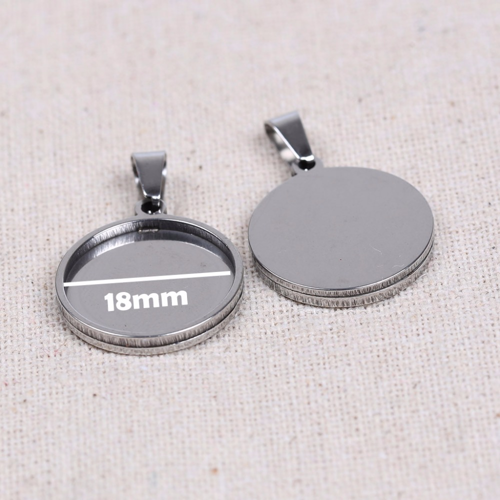 Onwear 10pcs Stainless Steel Blank Cabochon Base Settings 18mm Dia Pendant Trays Diy Necklace Bezels For Jewelry Making