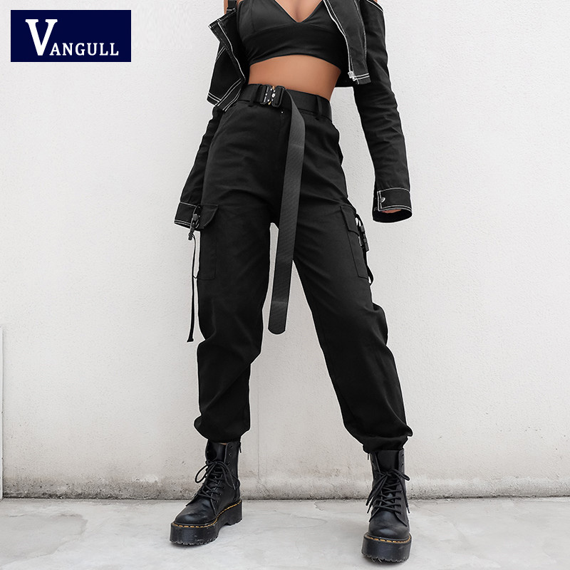 Vangull 2019 Spring Streetwear Cargo   Pants   Women Casual Joggers Black High Waist   Pants   Loose Female Trousers Ladies   Pants     Capri
