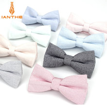 Brand New Men Fashion Bow Tie 100% Cotton Butterfly Cravat Red Blue Pink Solid Color Bowtie Tuxedo Bows Male Accessories Gift(China)
