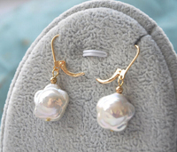 free shipping  00309 WOW 15MM WHITE plum blossom COIN FRESHWATER PEARL DANGLE EARRING