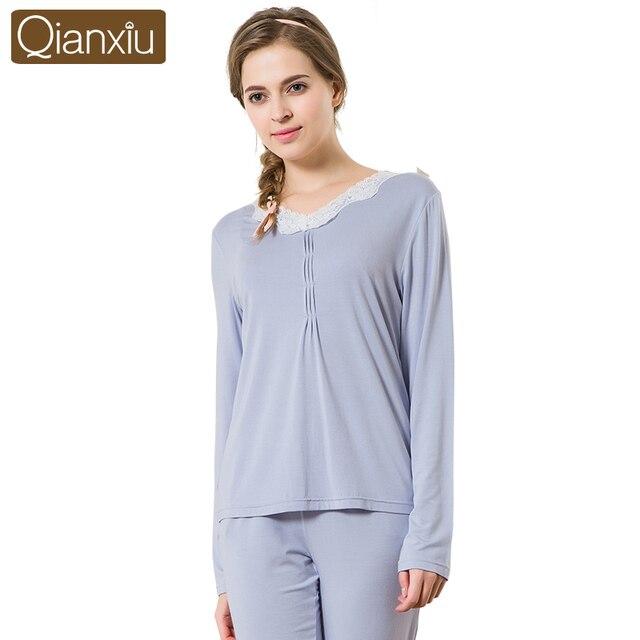 e1a4f50f9d88 Women Pajamas Set European Style Autumn Spring Cotton Long Sleeves Sexy  Lace Pyjama Pijama Ladies Sleepwear