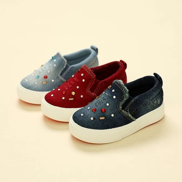 2016 Autumn brand fashion low top crystal slip-on washed denim canvas infantile loafers children casual sneakers kids girl shoes