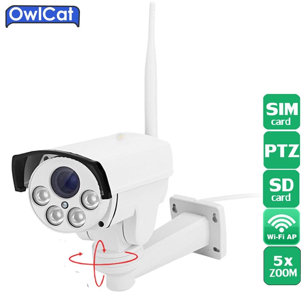 OwlCat 3516C+1/2.8 SONY323 HD 1080P 960P 5X Zoom Auto Focu Outdoor PTZ Bullet WIFI IP Camera Wireless 4G SIM Card SD card