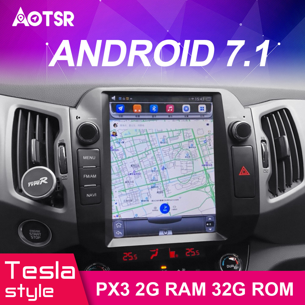 Perfect Android 7.1 Car GPS Navigation car DVD Player For KIA Sportage 2016+ Tesla style radio tape recorder auto headunit multimedia 1