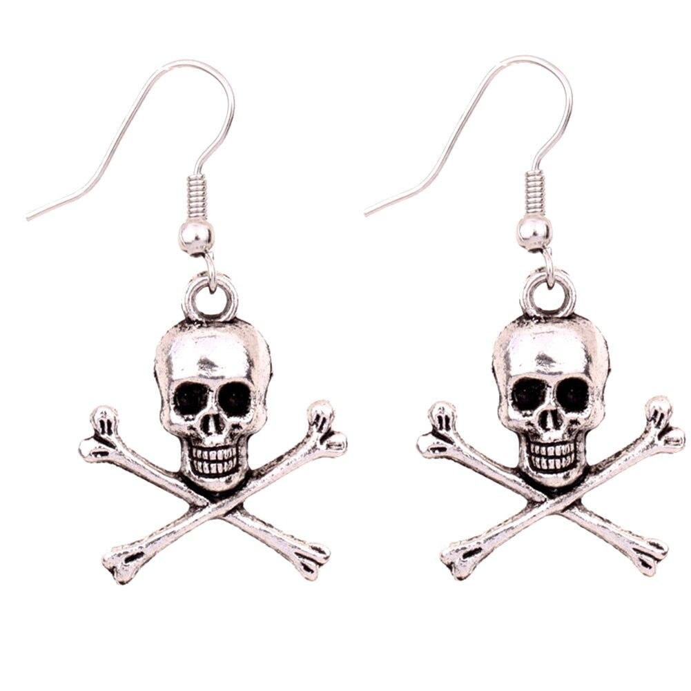 1 Paar Neue Ankunft Schmuck Vintage-stil Silber Schädel Kreuz Knochen Charme Ohrringe Halloween Geschenk Mode Persönlichkeit Schädel 100% Hochwertige Materialien