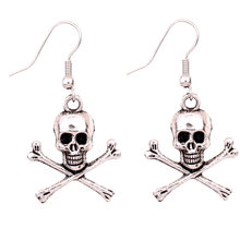 1Pair New Arrival Jewelry Vintage Style Silver skull cross bone Charms Drop Earrings Halloween Gift Fashion personality skull(China)