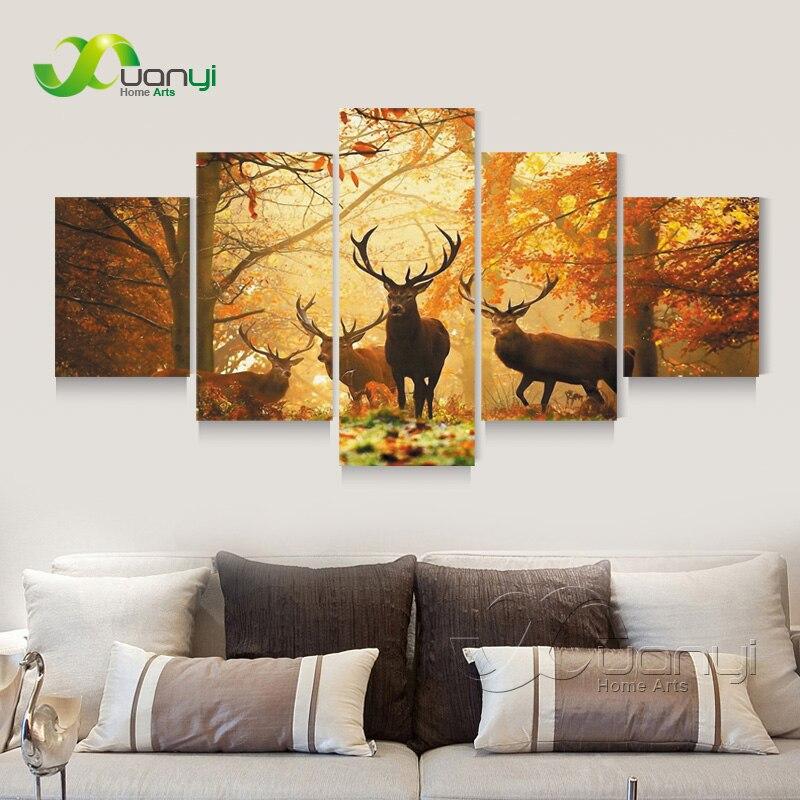 5 panelů jelenů zvířat nástěnné umění plátno olejomalba Cuadros dekor nástěnný obraz pro obývací pokoj HD Mordern výtisky Unframed PR1327