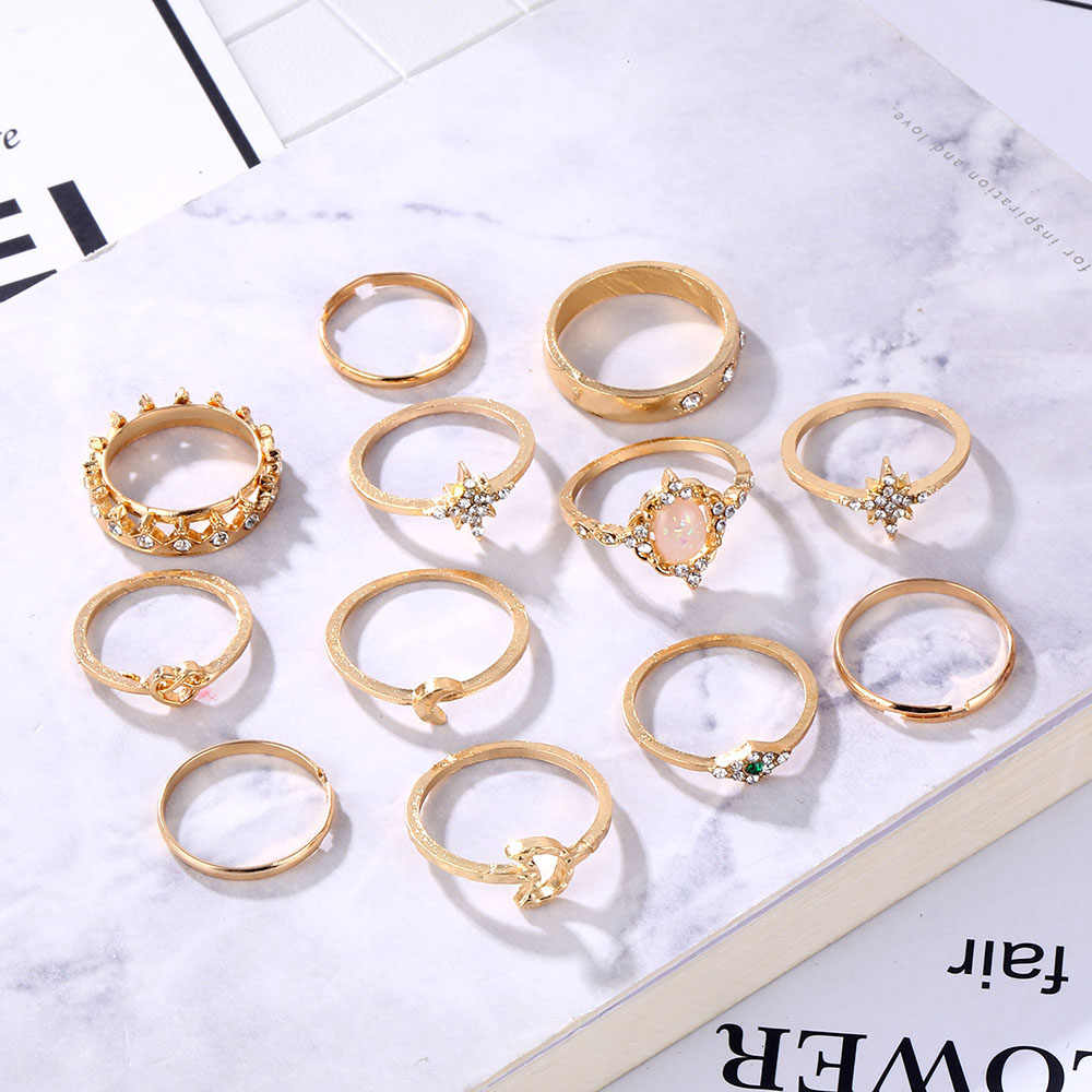 13 шт./набор винтажных колец подходит для женское модное кольцо опал Корона Звезда Луна кольцо с камнем ювелирные изделия в богемном стиле кольцо подарок