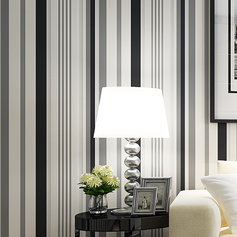 Modern Simple Black White Stripes Design Wallpaper Environmental Non ...