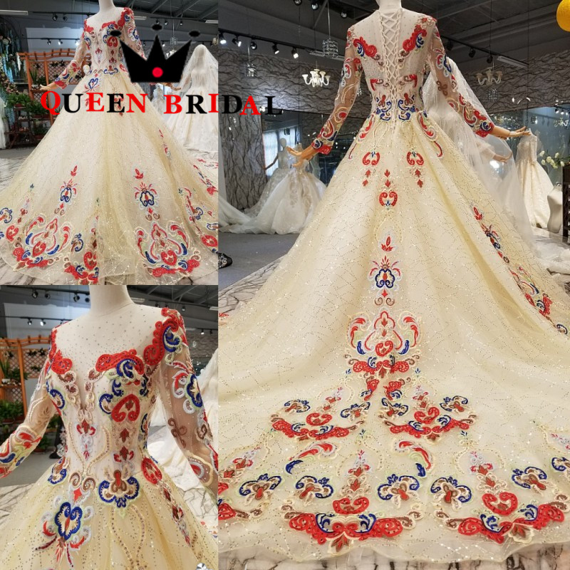 Reine mariée 2019 Vestido De Festa Longo une ligne manches longues paillettes perlées Robe De soirée Robe De soirée femmes Robe De bal EV147